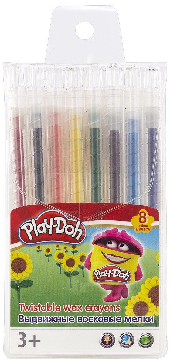 Мелки восковые 8цв Play-Doh выдвижные пл/уп