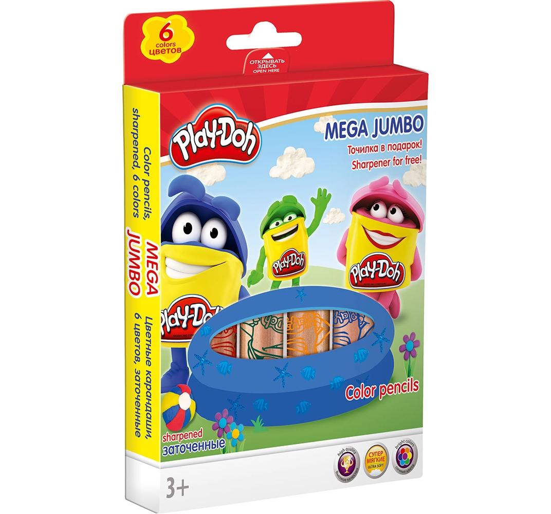 Карандаши цветные 6 цв Play-Doh Mega Jumbo + точилка