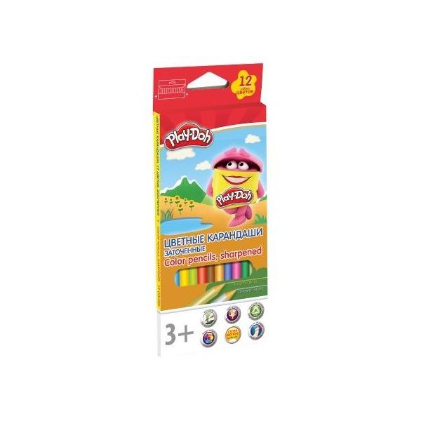 Карандаши цветные 12 цв Play-Doh трехгран + точилка