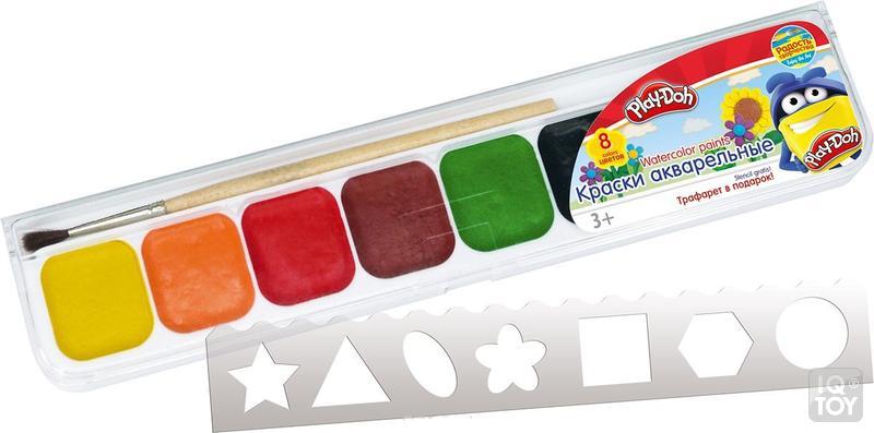 Краски 8цв Play-Doh + трафарет с/к пл/уп