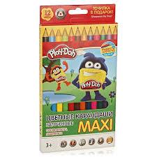 Карандаши цветные 12 цв Play-Doh MAXI трехгранные + точилка