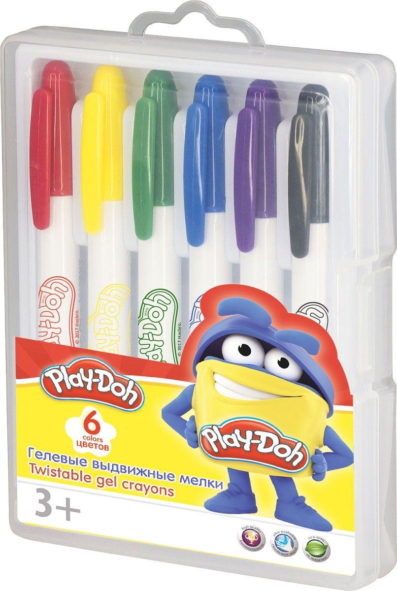 Мелки гелевые 6цв Play Doh выдвижные супер мягкие пл/чемоданчик