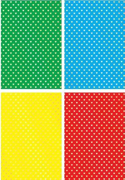 Картон цветной А4 4л 4цв тиснение Сердечки односторон