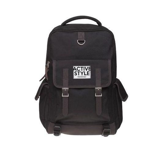 Рюкзак молодежный Hatber Active style черный вставки кожзам коричневый