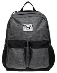 Рюкзак молодежный Hatber Active style серый черные тканевые вставки