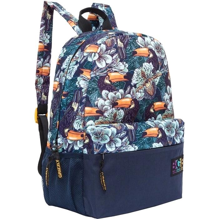 Рюкзак молодежный Grizzly туканы черный-зеленый
