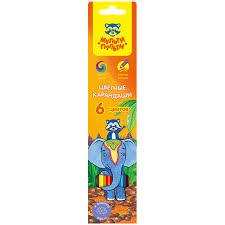 Карандаши цветные 6 цв Мульти-Пульти Енот в Индии