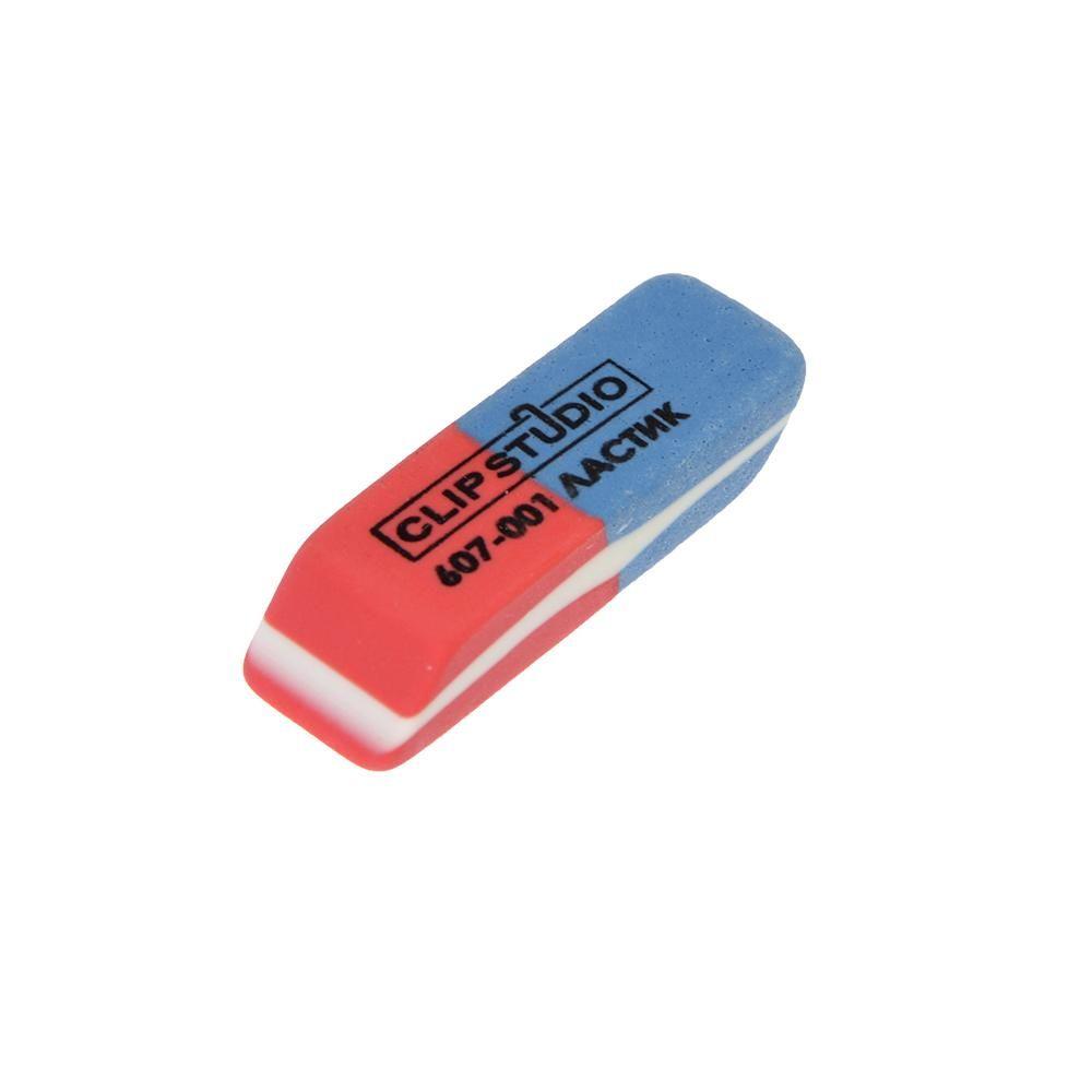 Ластик Clipstudio двухцветный прямоуг сине-красный