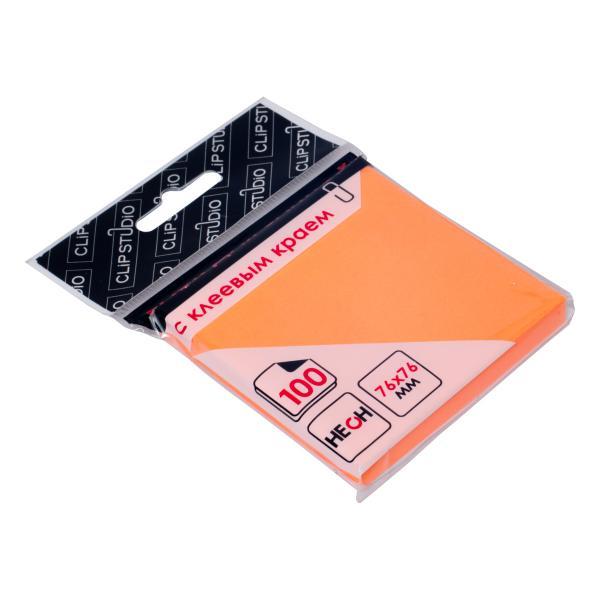 Блок липкий 76*76 100л Clipstudio оранжевый неон