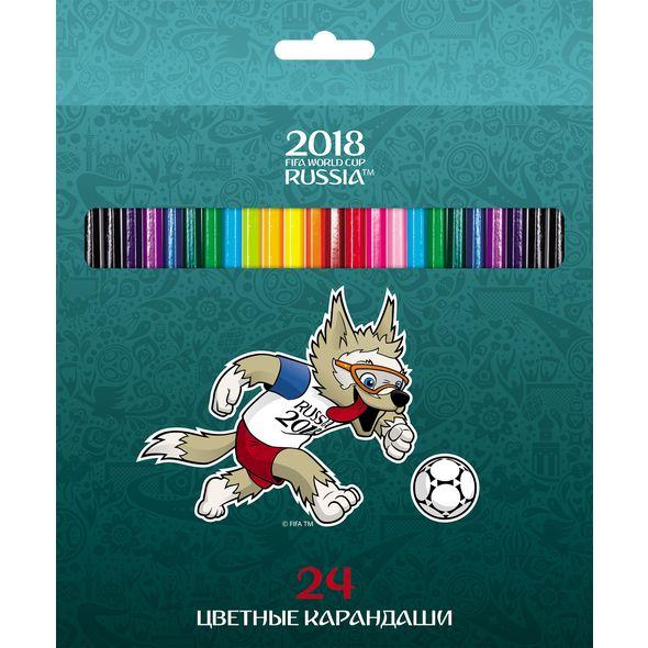 Карандаши цветные 24 цв ЧМ ПО ФУТБОЛУ 2018-Талисман