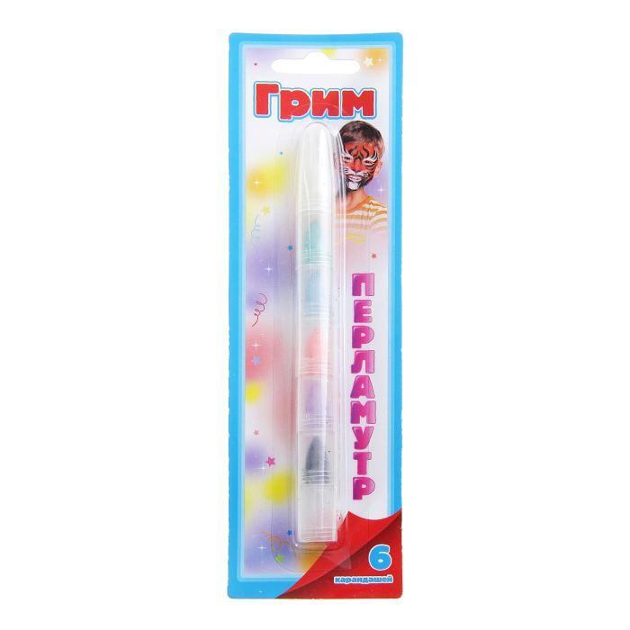 Грим карандаш для лица и тела, 6 перламутровых цветов