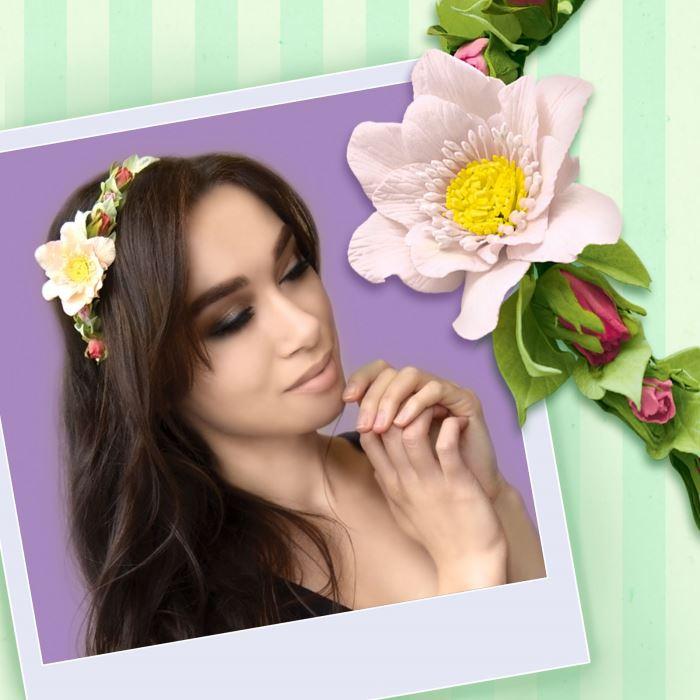 Творч Ободок из фоамирана Цветок Анемона