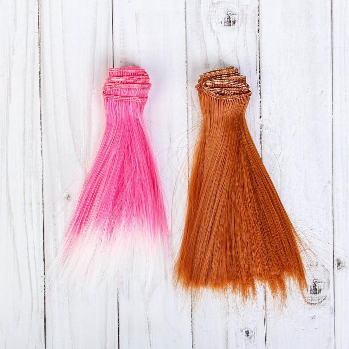 Творч Волосы-тресс для кукол Прямые 15см, лента - 1 м, цвет МИКС
