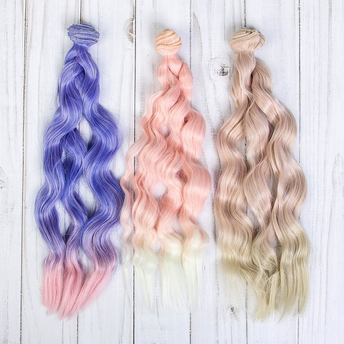 Творч Волосы-тресс для кукол Волна 25см лента - 1 м, цвет МИКС  2-730/03