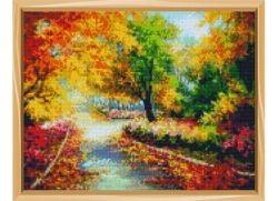 Алмазная мозаика 30х40 Осенний парк в рулоне