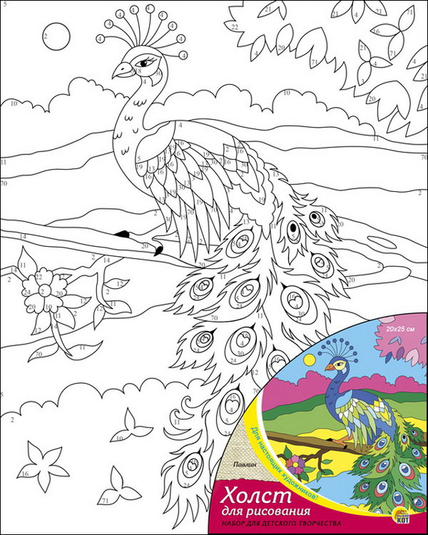 Творч Холст для рисования по номерам 20х25 Павлин