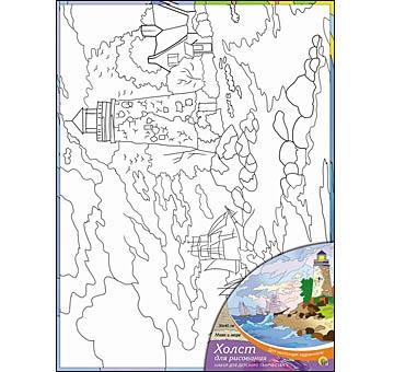 Творч Холст для рисования 30х40 Маяк и море