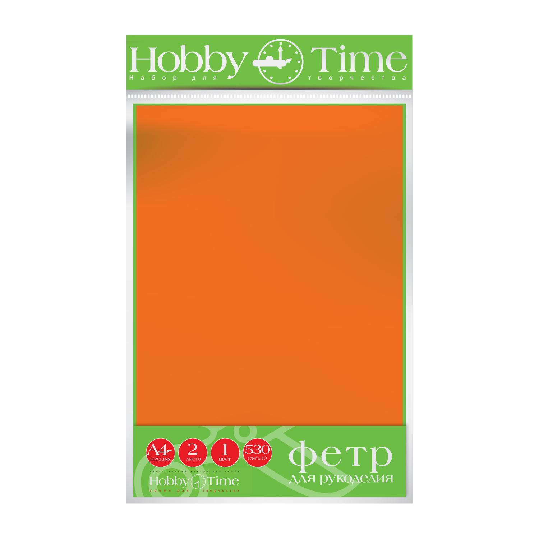 Фетр лист 19,5*28,8см 4мм Ярко-оранжевый 530гр 2листа