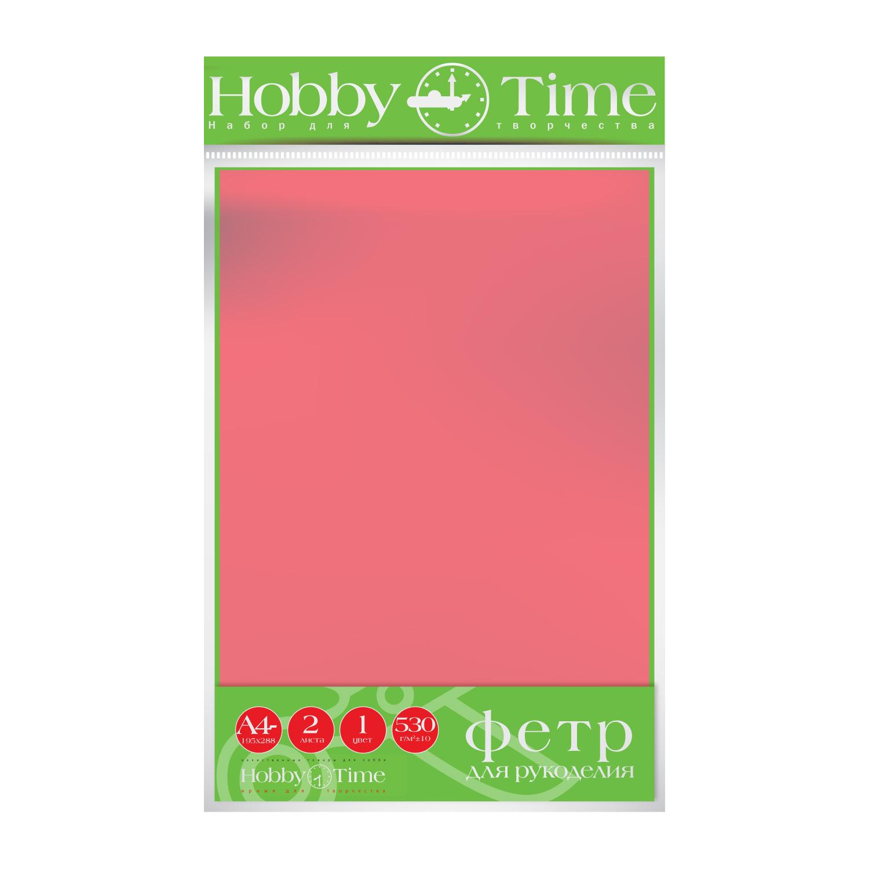 Фетр лист 19,5*28,8см 4мм Ярко-розовый 530гр 2листа