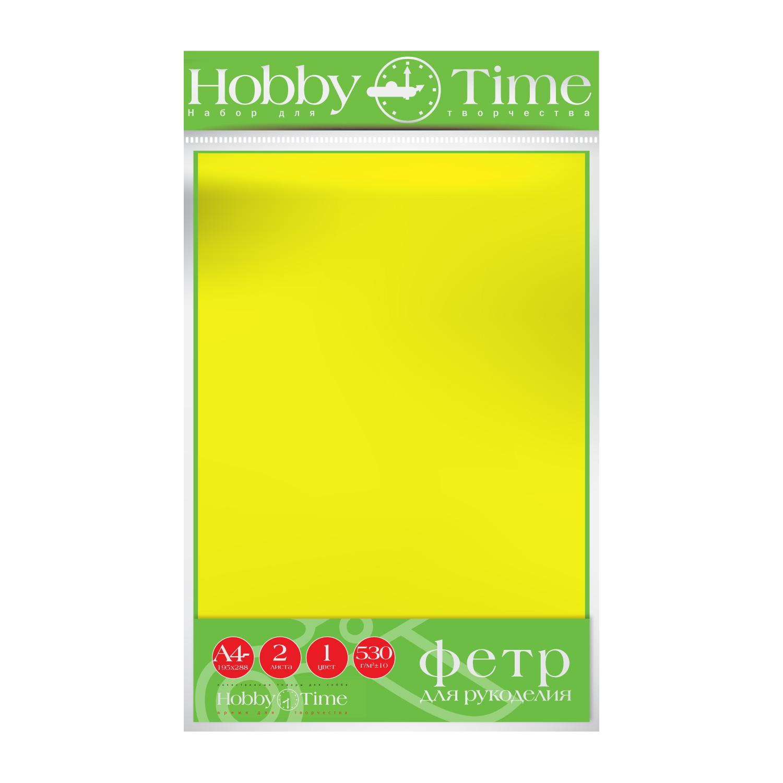 Фетр лист 19,5*28,8см 4мм Желтый 530гр 2листа