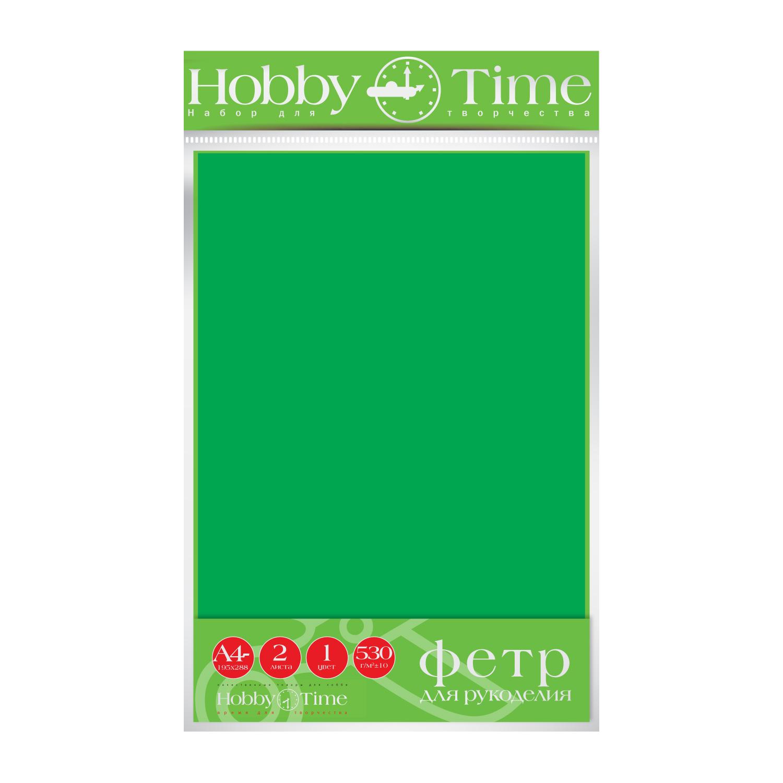 Фетр лист 19,5*28,8см 4мм Зеленый 530гр 2листа