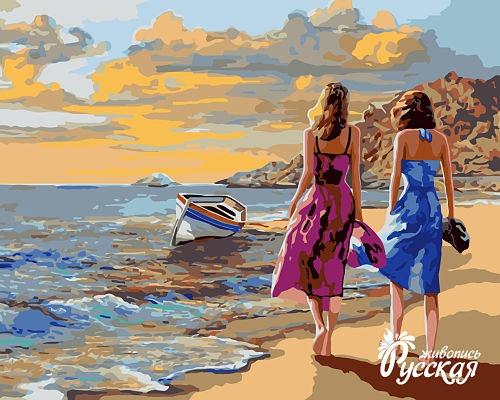 Творч Рисование по номерам 40Х50 Прогулка по берегу