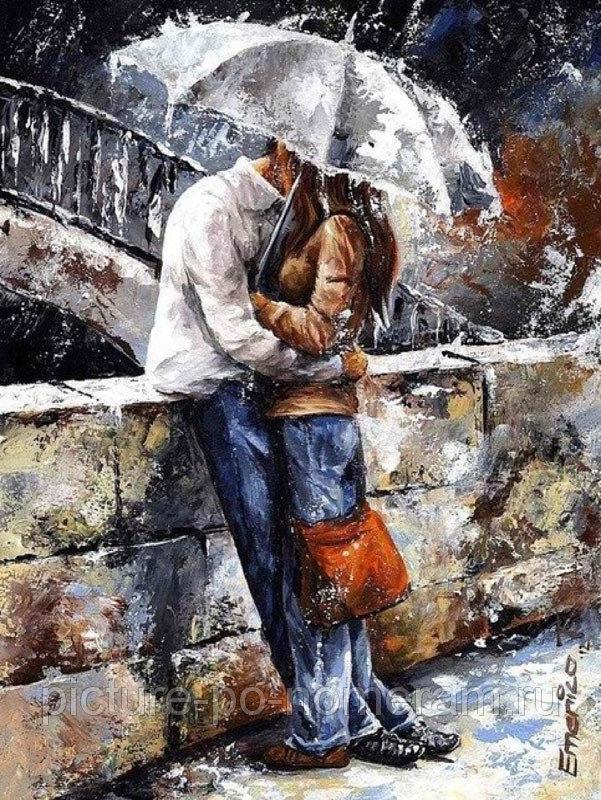 Творч Картина по номерам 40*50 Двое под зонтом