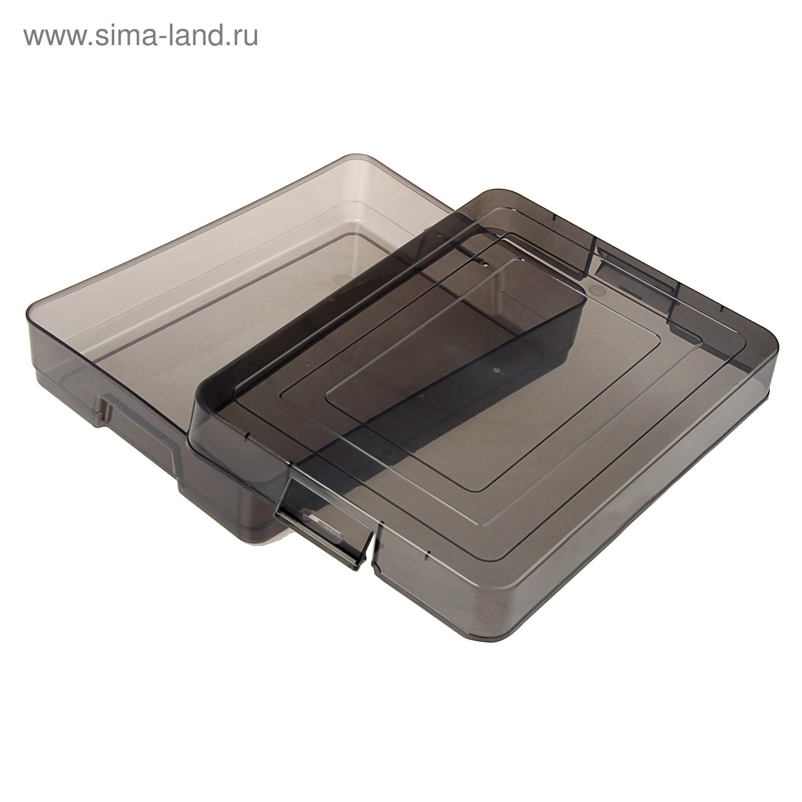 Контейнер для документов А4 с защелками тонирован серый