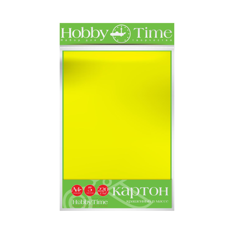 Картон крашенный в массе А4 5л, 220 г/кв.м., желтый