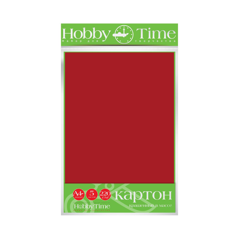 Картон крашенный в массе А4 5л, 220 г/кв.м, бордовый