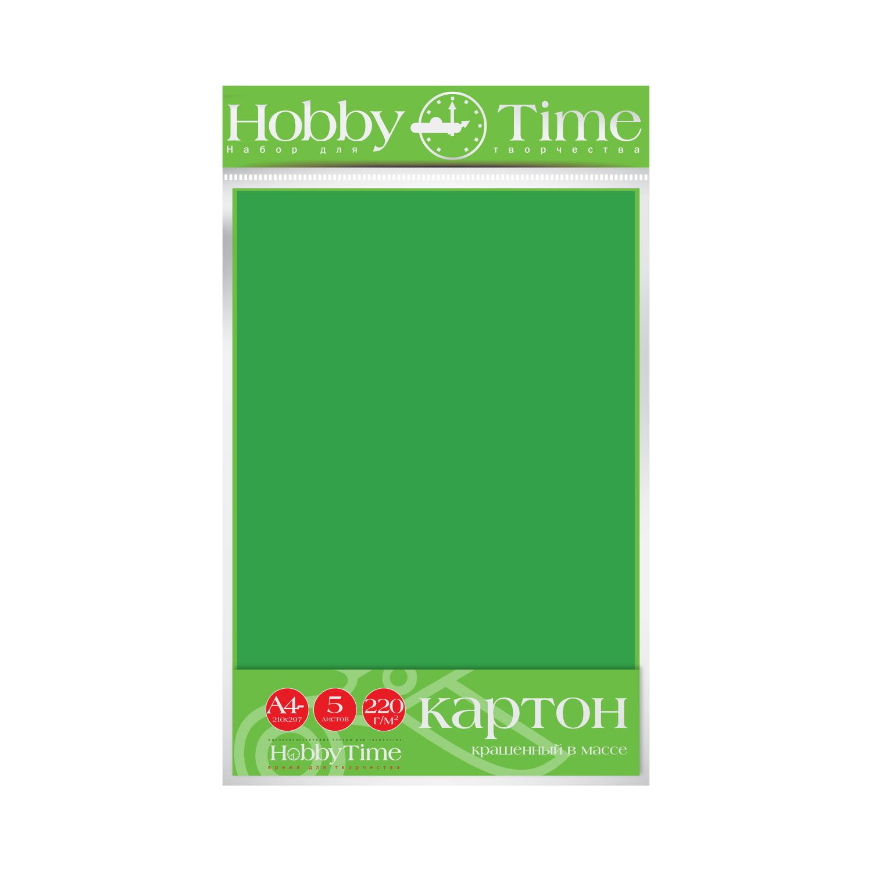Картон крашенный в массе А4 5л, 220 г/кв.м., зеленый