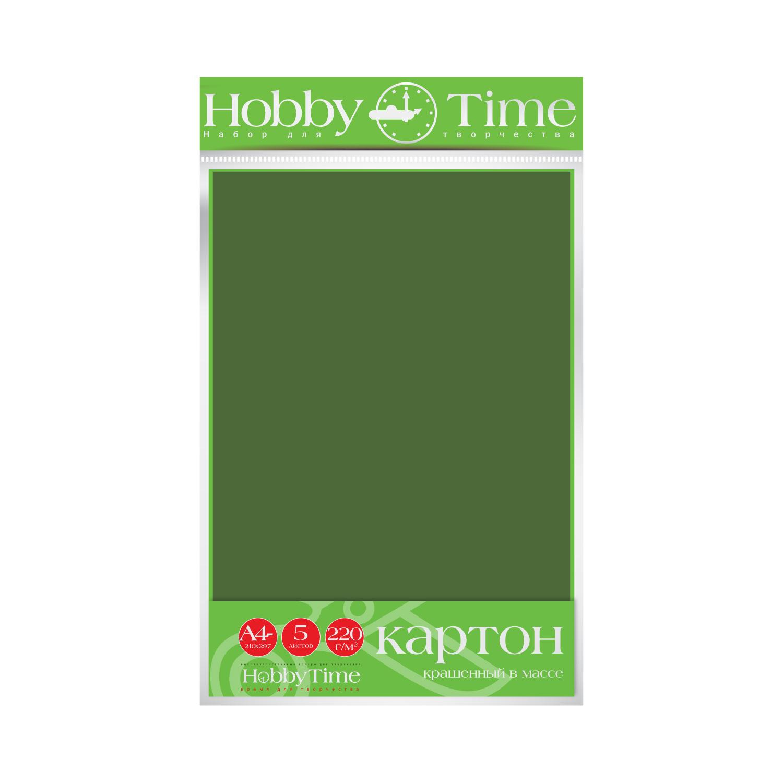 Картон крашенный в массе А4 5л, 220 г/кв.м, темно-зеленый