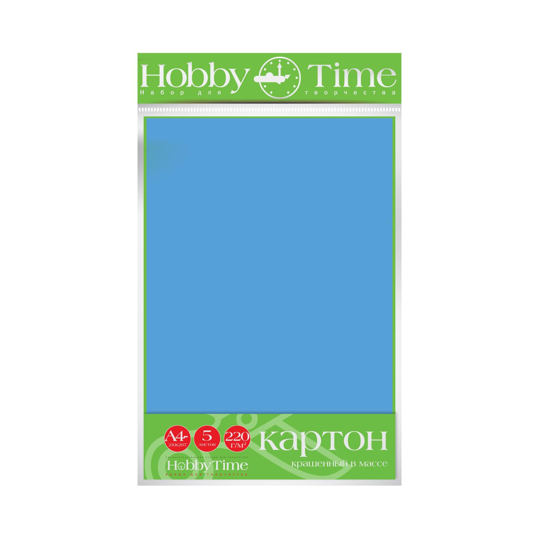 Картон крашенный в массе А4 5л, 220 г/кв.м, голубой