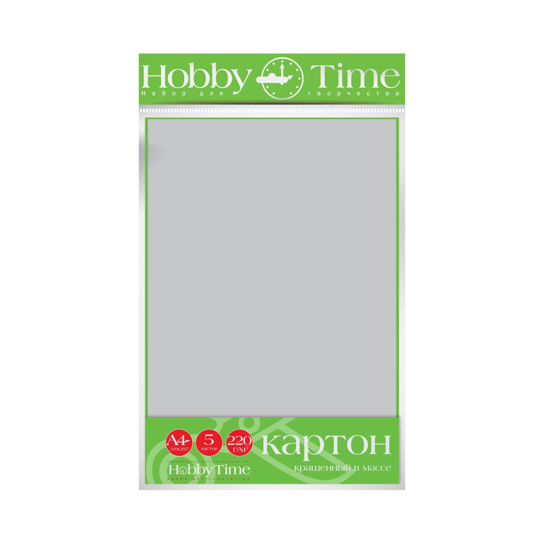 Картон крашенный в массе А4 5л, 220 г/кв.м., серый