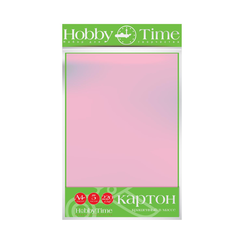 Картон крашенный в массе А4 5л, 220 г/кв., розовый