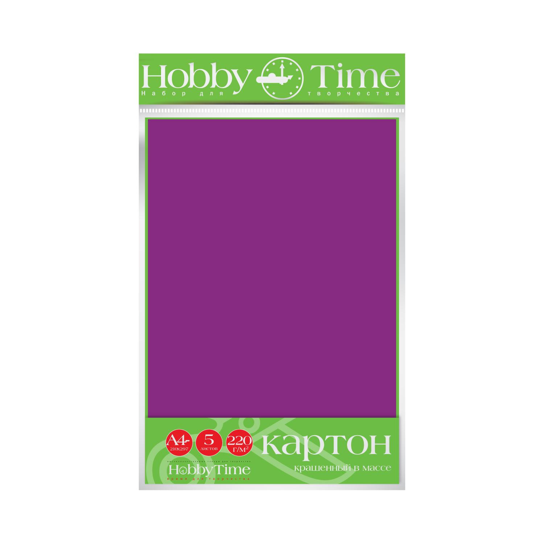 Картон крашенный в массе А4 5л, 220 г/кв.м, фиолетовый