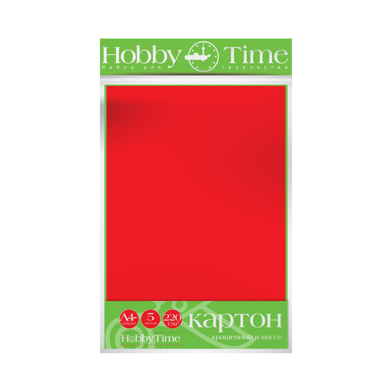 Картон крашенный в массе А4 5л, 220 г/кв.м, красный