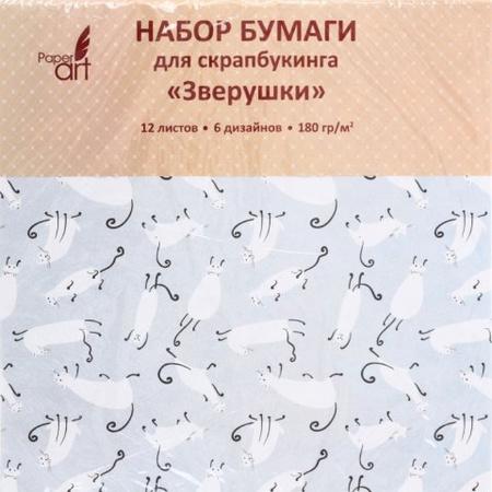 Творч Бумага д/скрап mix 29*29 12л Зверушки