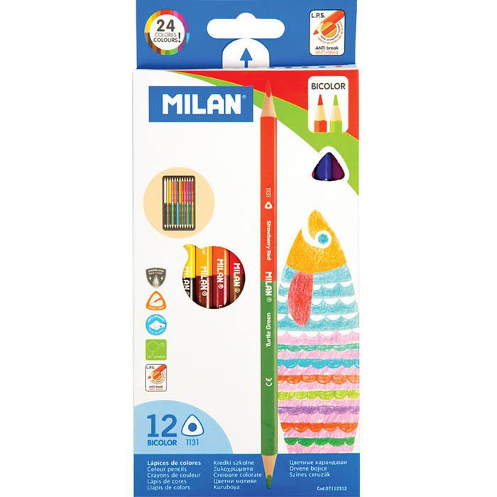 Карандаши цветные 24 цв 12 шт Milan трехгран двухсторон