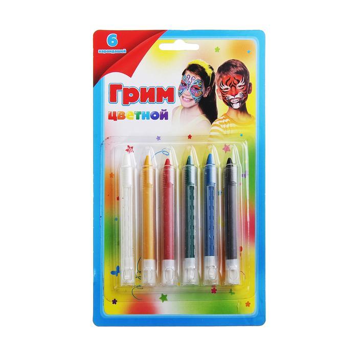 Грим карандаши для лица и тела 6цв