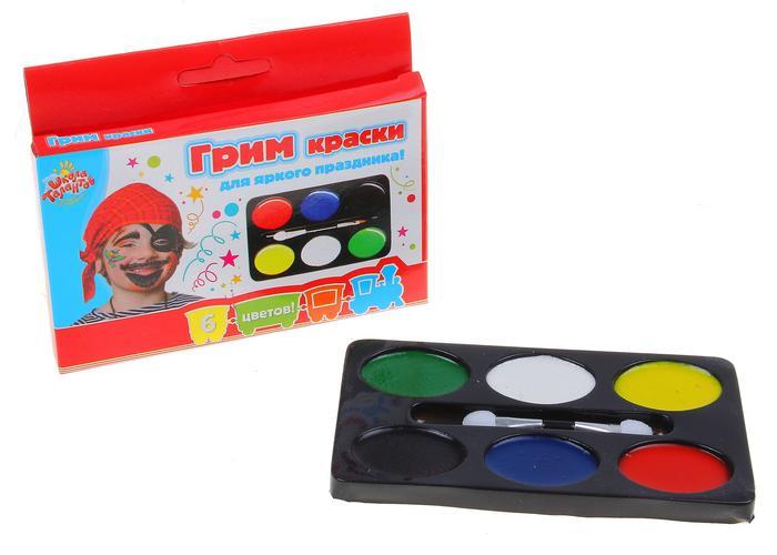 Грим-краски для лица и тела 6цв + кисточка