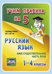 Таблица-плакат Русский язык. 1-4 кл.: Имя существительное. Часть речи ФГОС