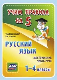 Таблица-плакат Русский язык. 1-4 кл.: Местоимение. Часть речи ФГОС