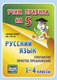Таблица-плакат Русский язык. 1-4 кл.: Синтаксис. Простое предложение ФГОС