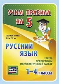 Таблица-плакат Русский язык. 1-4 кл.: Глагол. Орфограммы. Морфологич. ФГОС