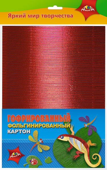 Картон цветной гофр. А4 4л 4цв фольгир Ящерица ПЭТ