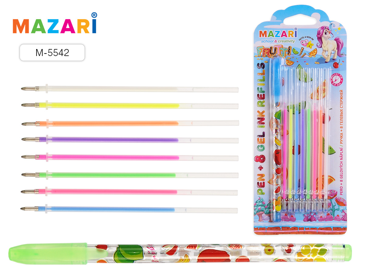 Ручка гелевая Mazari Frutti + 8 гелевых ароматизир стержней