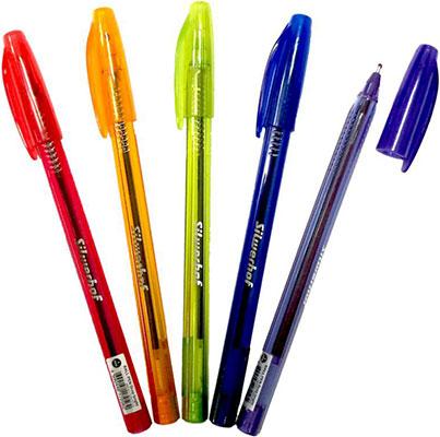 Ручка шариковая Silwerhof синяя 1мм маслян основа прозр корпус ассорти