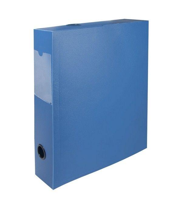 Короб архивный корешок 55мм пластик синий на кнопке карман для маркиро