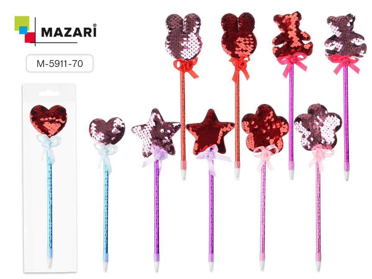 Ручка шариковая Mazari Hello синяя 0.7 с бантиком